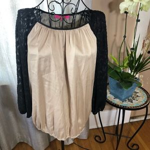 Catherine's XS Tan blouse with black lace overlay